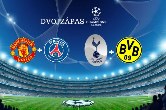 Liga majstrov: ManUtd-PSG  + Tottenham-Dortmund  (dvojzápas)